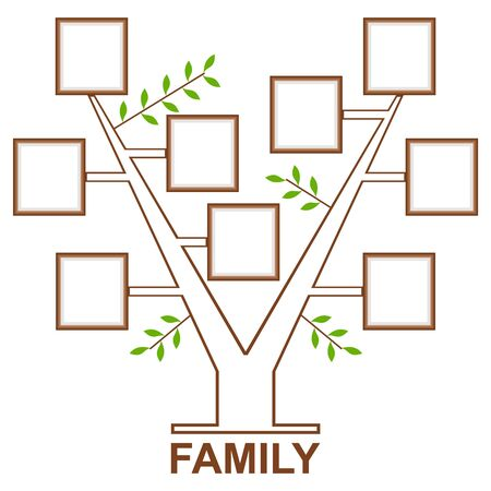 Family Tree template vintage vector illustration. Memories tree with photo frames. Insert your photos into frames.