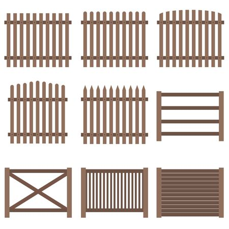 Recinzione, un set di recinzione in legno marrone. Design piatto, vettore. Vettoriali