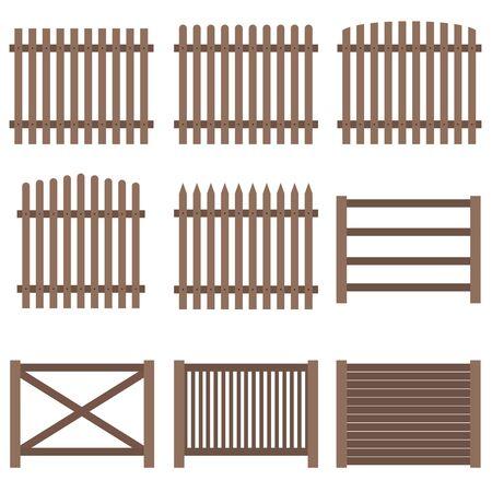Valla, un conjunto de valla de madera marrón. Diseño plano, vector. Ilustración de vector