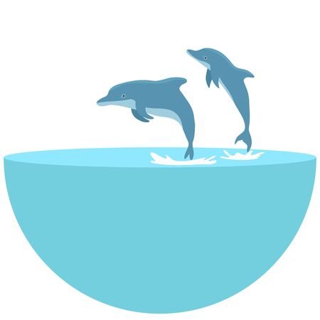 The dolphin who is jumping out of sea water on white background. jumping dolphins in the sea. The blue dolphin jumps.