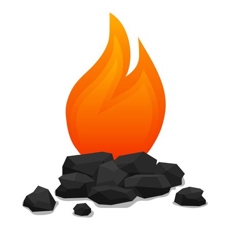 Bonfire with coals, realistic bonfire with extinct coals. Vector illustration. Vector. Çizim