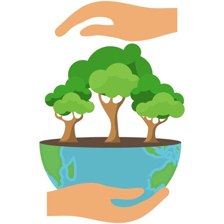 Protecting the ecology of the Earth. Hands protect the Earth with trees from a harmful environment. Vector illustration. Ilustrace