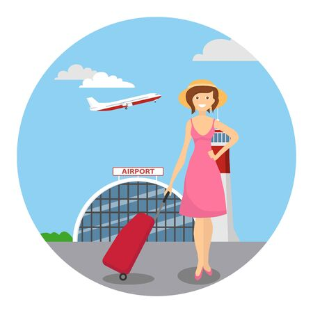 Girl travels with luggage. Girl with a tourist suitcase against the background of the airport with a take-off airplane. Vector illustration of tourism concept. vector