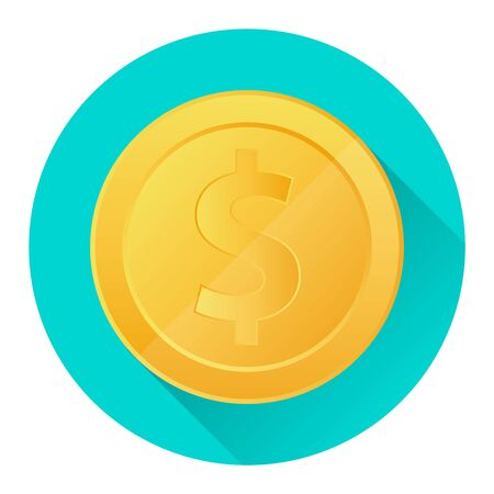 Gold coin. Realistic gold coin on a green background with a shadow. Cartoon vector illustration of a golden coin. vector