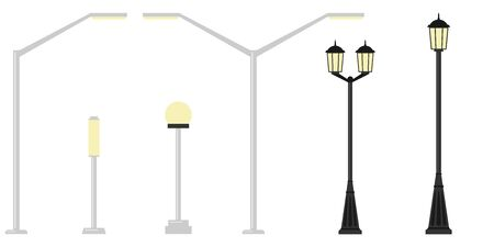 Street lights realistic icon set on white background in different styles. Decorative stylized streetlights silhouettes. Vector.