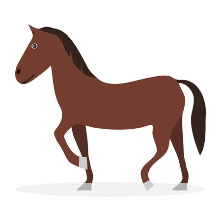 Horse, cartoon horse of brown color. Vector illustration, vector. Illustration