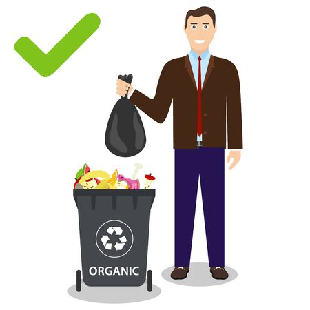 A man throws a bag of garbage into a trash can. A man throws a bag of organic waste into a trash can. vector Vettoriali