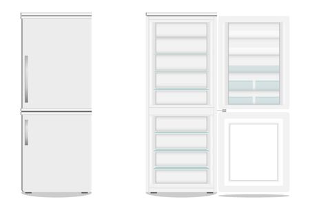 Refrigerator with freezer. Open and closed fridge. Icon refrigerator. Vector illustration. vector