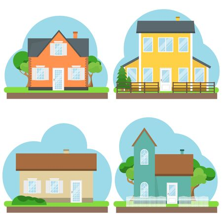House, a set of houses with trees and fences. Flat design, vector. vector