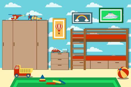 Cameretta per bambini con giocattoli. Sala giochi per bambini con mobili e giocattoli. Illustrazione vettoriale della stanza di un bambino. vettore