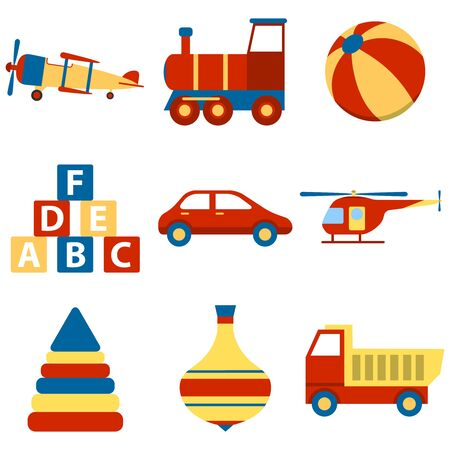 Toy icon collection, vector color illustration. Set colorful children toys cartoon. Toys for child to play. vector Foto de archivo - 134878153