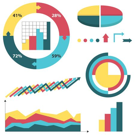 Infographic, a set of charts and color graphs. Vector illustration. vector