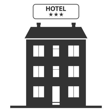 Hotel, hotel icon on the background of the urban landscape. Vector illustration of a hotel. Vector