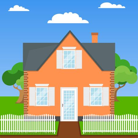 House with a lawn, fence and trees. Flat design, vector.