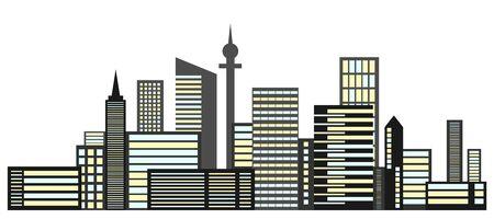 Urban landscape, isolated cityscape. Vector, cartoon illustration metropolis, vector.
