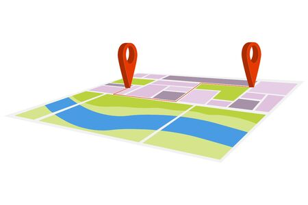 Map of the city with locations. Map of the city with marks and paths. Vector, cartoon illustration of a city map, vector.