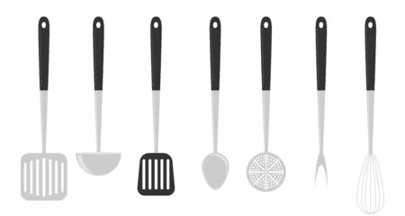 Kitchen stainless steel tools realistic set with cooking fork slotted. Set Kitchen Utensils. cooking tools flat style. Cook equipment isolated objects. Vector Ilustrace