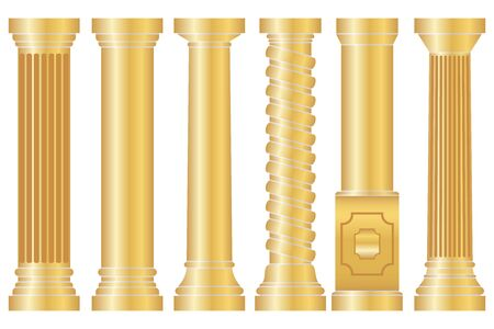 Antique column, a collection of gold antique columns. Vector illustration. Vector