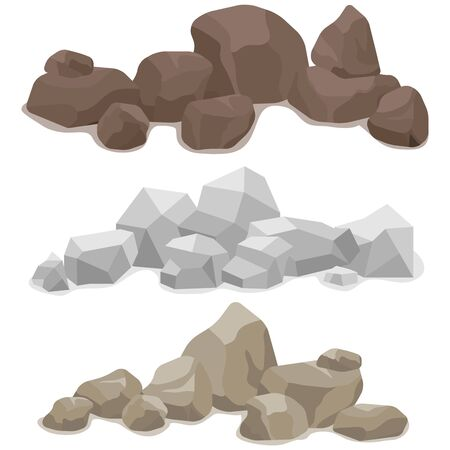 Stones, a set of various stones. Mountain of stone. Vector