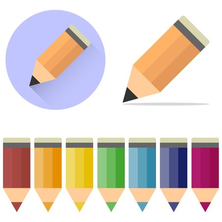 Pencils, a set of cartoon, colored pencils. A pencil icon with a shadow. Flat design, vector.