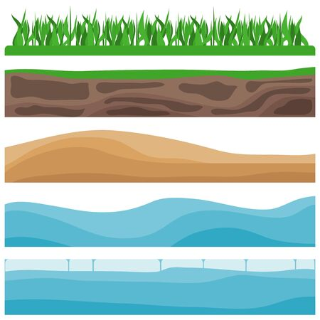 Landscapes, a set of natural landscapes of the Earth. Grass, earth, sand, waves, ice. Vector illustration of landscapes. Vector Ilustração