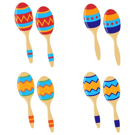 Maracas icon. Set of Mexican maracas. Musical instrument maracas. Vector illustration. Vector Ilustracja