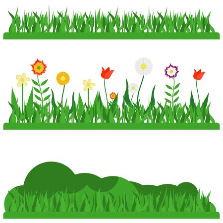 Herbal landscapes. Earth landscape with grass and flowers. Vector