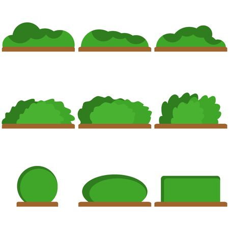 Bushes, a set of green bushes. Vector illustration of bushes. Vector Stok Fotoğraf - 134755443