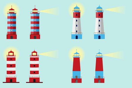 Lighthouse, Set of lighthouses, path lighting. Big set flat lighthouses isolated.