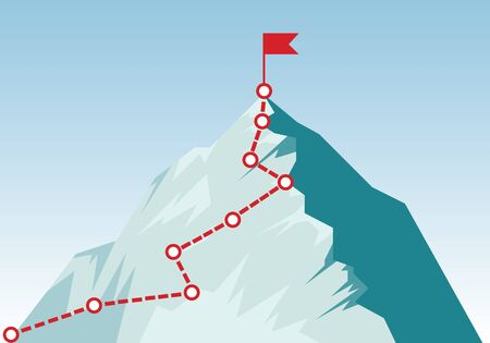 Mountain climbing route to peak in flat style. Concept of Goal, Mission, Vision, Career path. Business journey path in progress to success vector illustration. Mountain peak, climbing route. Vector