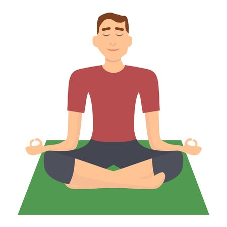 The man is meditating in the lotus position, the man is sitting in the lotus position. Vector illustration of a man doing yoga. Vector Stock Vector - 134755517