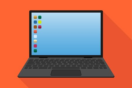 Laptop, realistic laptop with screen saver and application icons. Vector illustration. Vector Illustration