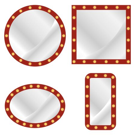 Makeup mirror. Vector set of realistic isolated retro sign neon billboards. Red makeup mirror frame with light bulbs. Vector Ilustração