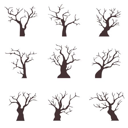Old trees without leaves. A collection of old black trees with dry branches. Cartoon illustration of old dry wood. Vector