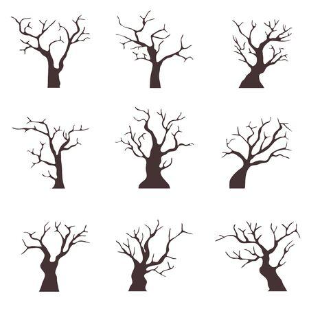 Vecchi alberi senza foglie. Una collezione di vecchi alberi neri con rami secchi. Cartoon illustrazione del vecchio legno secco. Vettore