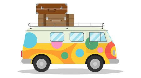 Cartoon minivan, multi-colored minivan with tourist suitcases. Car travel concept. Vector.