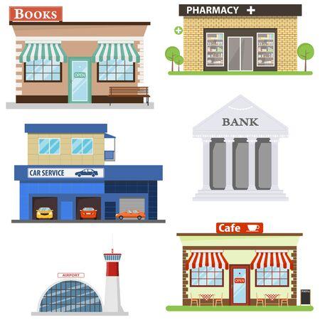 Public buildings. Set of public buildings. Bank, pharmacy, cafe, bookstore, airport, car repair. Vector illustration, vector. 向量圖像