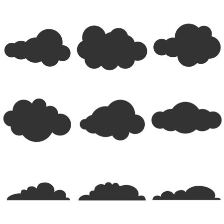 Clouds, black clouds on a white background. Vector illustration of black and white clouds. Vector