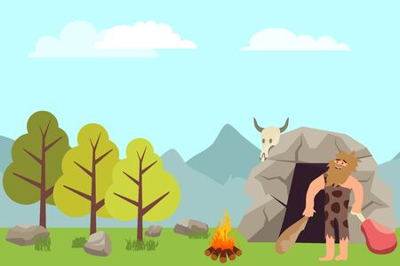 Primitive people in stone age cartoon icons. Primitive man cartoon vector in animal pelts eating meat near their cave. Vector