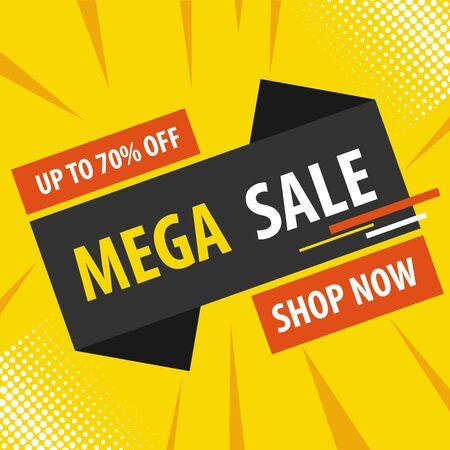 Online verkoop, kortingen op goederen. Vector, cartoon afbeelding. Vector