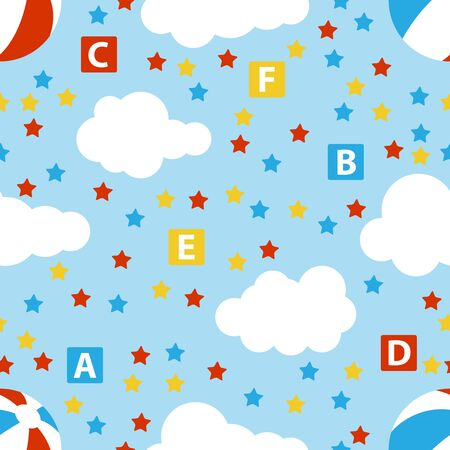 Cute baby seamless pattern with stars, cubes, beach ball, clouds, rainbow. Seamless watercolor clouds and stars pattern. Vector illustration for kids design. colored. Vector Foto de archivo - 134878466