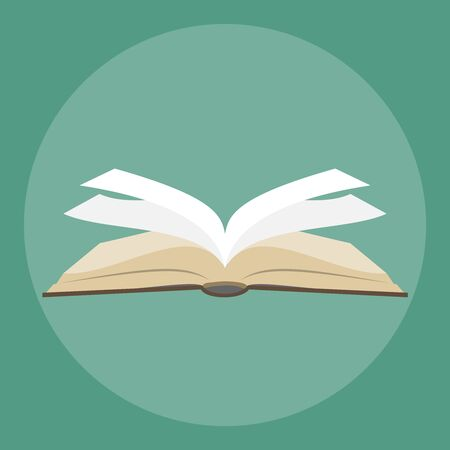 Open book literature icon. Text book open isolated icon. Brawn Open book with white pages. vector