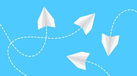 Paper airplanes, flying paper airplanes. Vector illustration of color paper airplanes. Vector