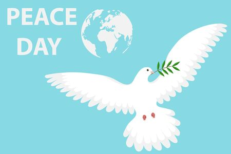 Dove of peace with olive branch on a blue background. Cartoon illustration of a white dove of peace. White dove set with peace and olive branch symbols. Reklamní fotografie - 134878467