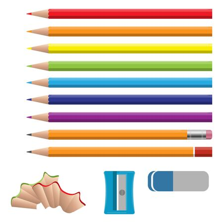 Set of vector illustrations in realistic style sharpened pencils of various lengths with a rubber and without. Colored and various length pencils with sharpeners and eraser on white background. Vector Ilustração