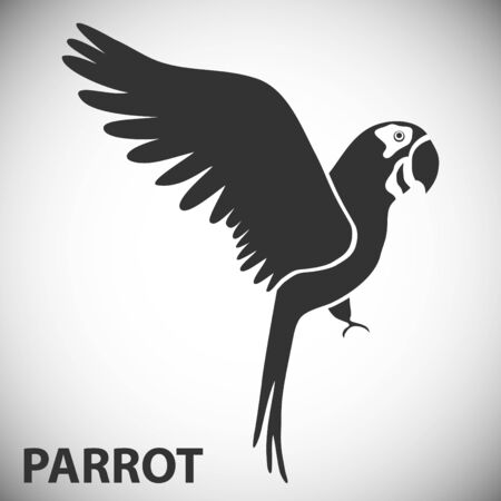 Parrot icon isolated on white background. Artistic stylized parrot icon. Silhouette birds. Creative art Ilustracja