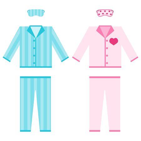 Pyjama. Een set pyjama's met een slaapmasker. Pyjama's voor heren en dames. Vector illustratie. Vector