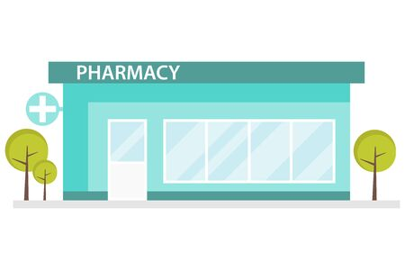 Pharmacy building in a flat design. Interior and pharmacy building. Pharmacy room with a pharmacist. Vector illustration, vector.
