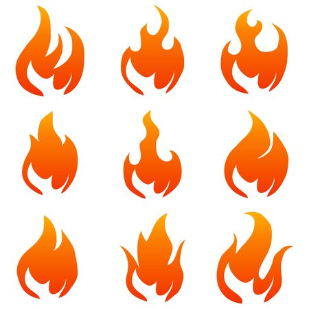Flame, flame icon. Vector flame illustration isolated on white. Vector.