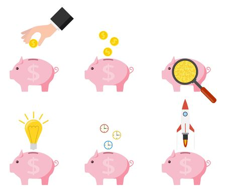 Pink piggy bank with falling golden coins, idea, time and startup. Pig piggy bank with coins vector illustration in flat style. The concept of saving or save money or open a bank deposit. Vector Illusztráció